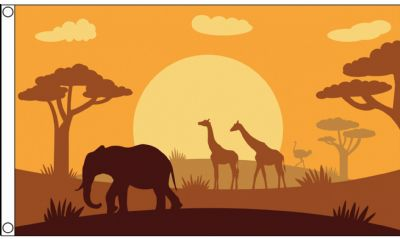 African Savanna Sunset Scene 5'x3' Flag